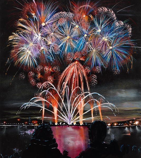 Fireworks By The Water Phil Rouse Oil Paintings